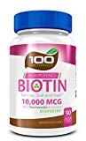 Pure Biotin 10,000 MCG - Maximum Strength Vitamin B - Complex Supplement to Reduce Hair Loss, Improve Hair,...