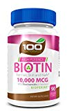 Pure Biotin 10,000 MCG - Maximum Strength Vitamin B - Complex Supplement to Reduce Hair Loss, Improve Hair,...