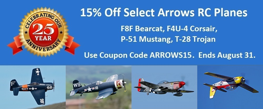 Anniversary Sale - 15% Off Select Arrows RC Planes